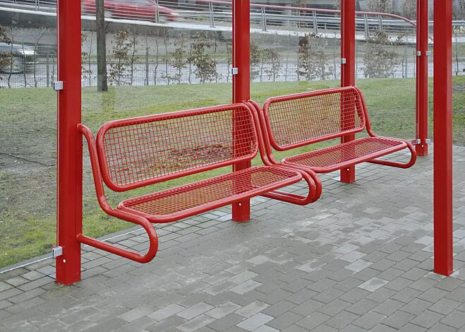 Sitzbank SESTO mit Rückenlehne, Modell 2, Sitzfläche aus Drahtgitter, zum Anschrauben, in RAL 3000 feuerrot