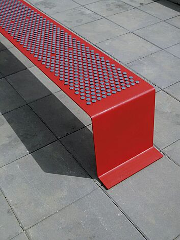 Sitzbank SINUS mit Kunststoffnoppen, in RAL 3003 rubinrot