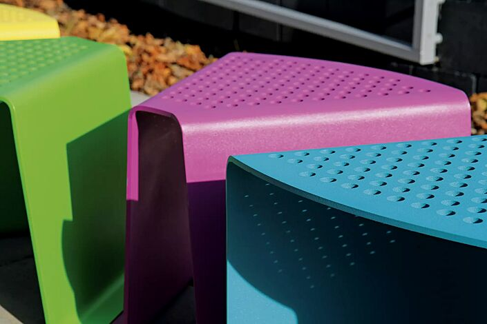 Detail: Sitzflächen ohne Kunststoffnoppen