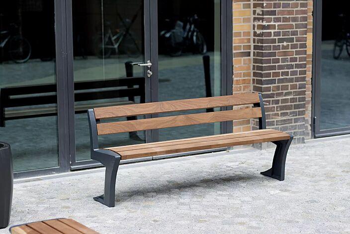 Sitzbank TALLIN mit Rückenlehne, Stahlteile in RAL 7016 anthrazitgrau