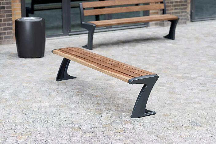 Sitzbank TALLIN mit und ohne Rückenlehne, Stahlteile in RAL 7016 anthrazitgrau und Abfallbehälter TALLIN in RAL 7016 anthrazitgrau