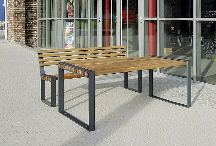 Kombinationsvorschlag: Sitzbank TAMORES mit Rückenlehne und Tisch TAMORES, Stahlteile in RAL 7016 anthrazitgrau