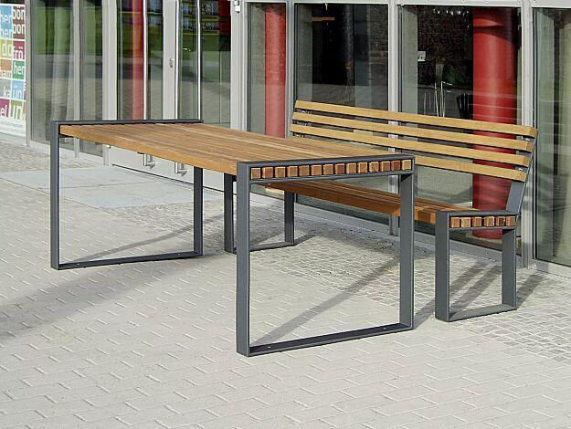 Kombinationsvorschlag: Sitzbank TAMORES mit Rückenlehne und Tisch TAMORES, Stahlteile in DB 703 eisenglimmer