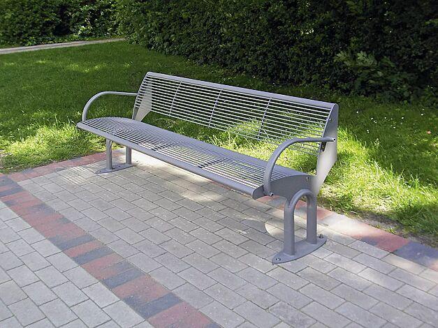 Sitzbank TAURUS mit Rückenlehne und Armlehnen, in RAL 9007 graualuminium
