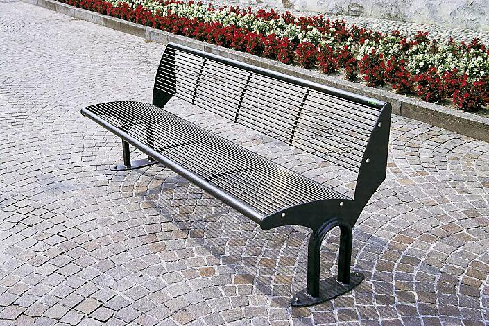 Sitzbank TAURUS mit Rückenlehne, in RAL 7016 anthrazitgrau