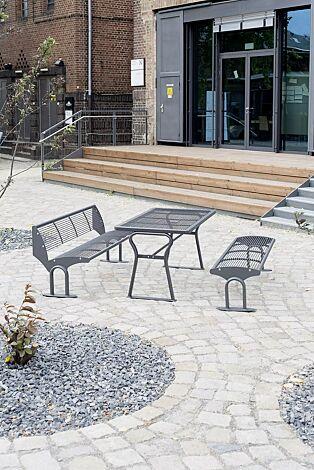 Sitzbank TAURUS mit und ohne Rückenlehne und Tisch GAMMA, in DB 703 eisenglimmer