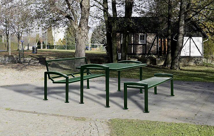 """<div id=""""container"""" class=""""container"""">Bank-Tisch-Kombination TORRE bestehend aus Sitzbank mit und ohne Rückenlehne und einem Tisch, in RAL 6005 moosgrün</div>"""