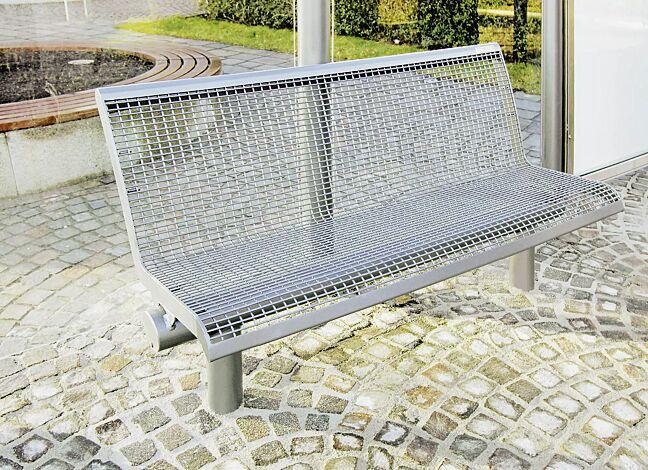 Sitzbank LINUS, 3-Sitzer mit Rückenlehne, zum Einbetonieren