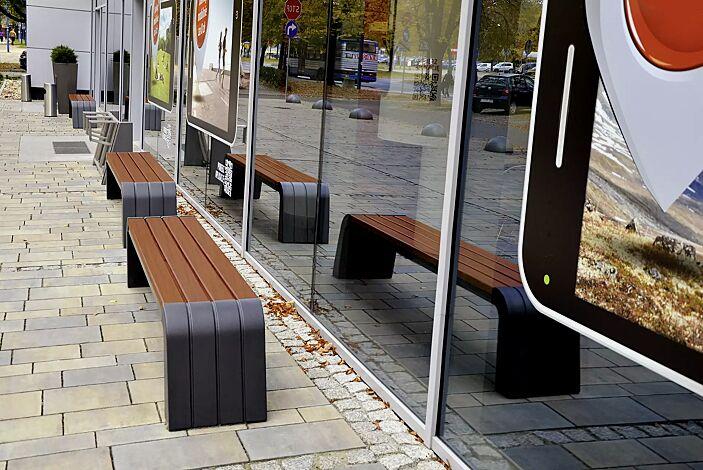 Sitzbänke VEGA ohne Rückenlehnen, Stahlteile in RAL 7021 schwarzgrau, Beton beschichtet in Farbe graphit