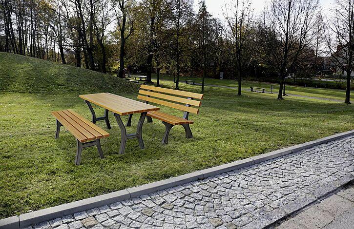 Bank-Tisch-Kombination VENEDIG, mit Escheholzbelattung, bestehend aus einem Tisch und Sitzbank ohne und mit Rückenlehne