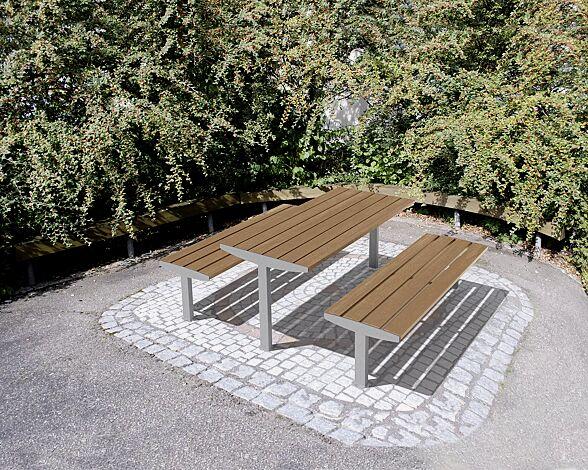 Sitzbank und Tisch VERA SOLO, mit Jatobaholzbelattung, Stahlteile in RAL 9007 graualuminium