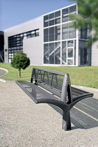 Sitzbank VESTA mit Rückenlehne, doppelseitig, Sitzfläche aus Stahl, in RAL 7016 anthrazitgrau