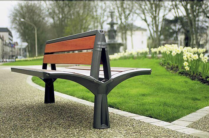 Sitzbank VESTA mit Rückenlehne, doppelseitig, mit Holzbelattung, Gusseisengestell RAL 7016 anthrazitgrau