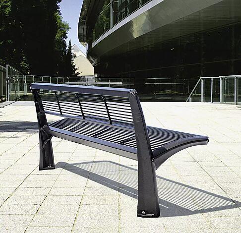 Sitzbank VESTA mit Rückenlehne, Sitzfläche aus Stahl, in RAL 7016 anthrazitgrau