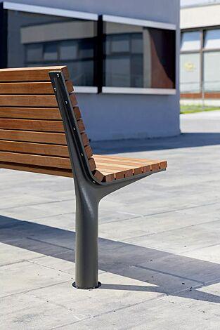 Sitzbank VLTAU mit Rückenlehne, mit Jatobaholzbelattung, Stahlteile in RAL 9007 graualuminium