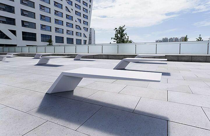 Sitzbank WING aus UTC®-Beton, in weiß