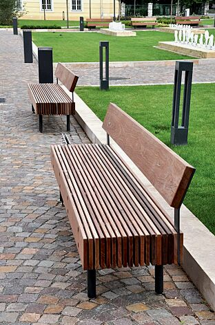 Sitzbänke WOODY mit Rückenlehne, mit Jatobaholzbelattung