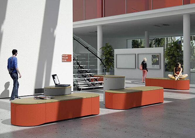 Sitzpodeste URBAN ISLANDS, verschiedene Ausführungen, mit Jatobaholzbelattung, Stahlteile in RAL 9007 graualuminium und RAL 3003 rubinrot