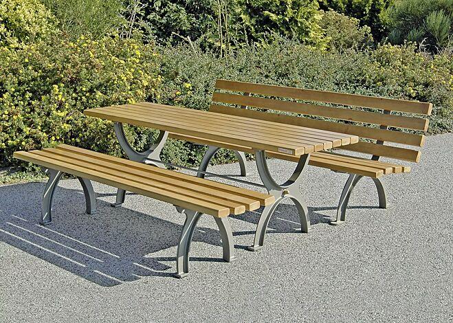 """<div id=""""container"""" class=""""container"""">Bank-Tisch-Kombination ALBAS bestehend aus Sitzbank mit und ohne Rückenlehne und einem Tisch, mit Escheholzbelattung</div>"""