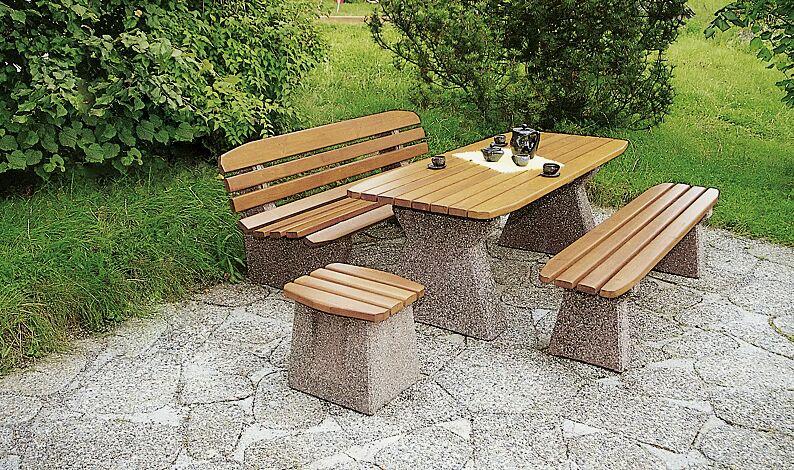 Set-Angebot: Bank-Tisch-Kombination ANDRIA bestehend aus einem Tisch, einer Sitzbank mit Rückenlehne, einer Sitzbank ohne Rückenlehne und einem Hocker, Holzart Fichte
