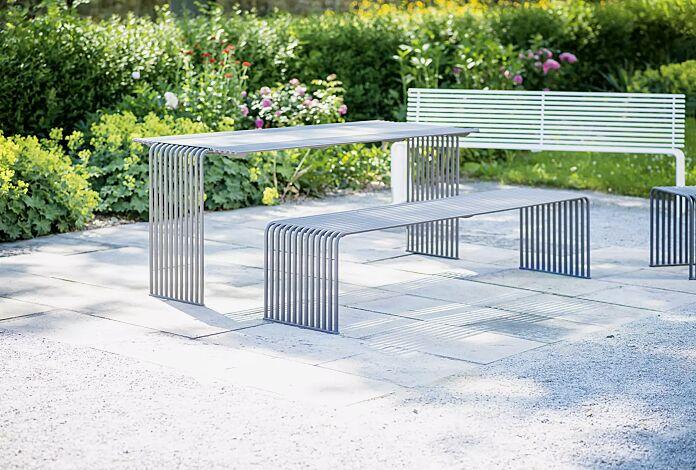 Kollektion ANZIO bestehend aus Tisch, Sitzbank und Sitz, in eisenglimmergrau