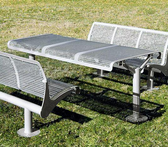"""<div id=""""container"""" class=""""container"""">Bank-Tisch-Kombination ASTI, bestehend aus Tisch und Sitzbänken zum Aufdübeln, in RAL 9007 graualuminium</div>"""