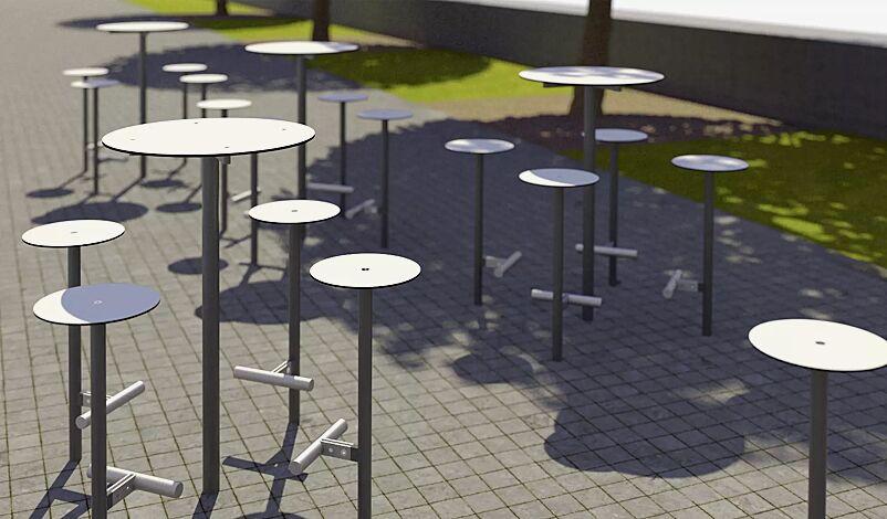 Stehtisch und 4 Barhocker BISTROT, mit HPL-Auflage in weiß, Stahlteile in RAL 9006 weißaluminium