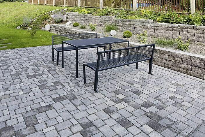 Tisch CAMILLA und Sitzbänke CAMILLA mit Rückenlehne, in RAL 7016 anthrazitgrau