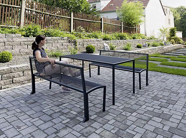 Tisch CAMILLA und Sitzbank CAMILLA mit Rückenlehne, in RAL 7016 anthrazitgrau