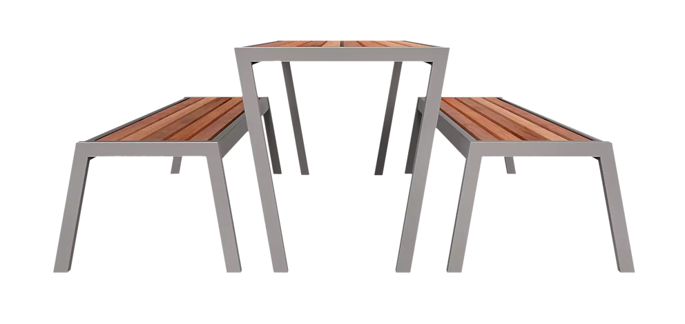 Tisch und Sitzbank CASTEO mit Sapeliholzbelattung, Stahlteile in RAL 9007 graualuminium