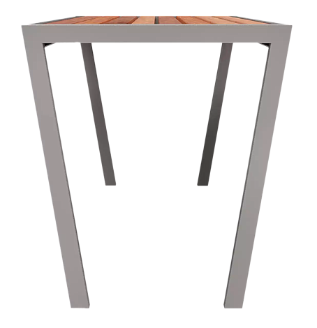 Tisch CASTEO mit Sapeliholzbelattung, Stahlteile in RAL 9007 graualuminium