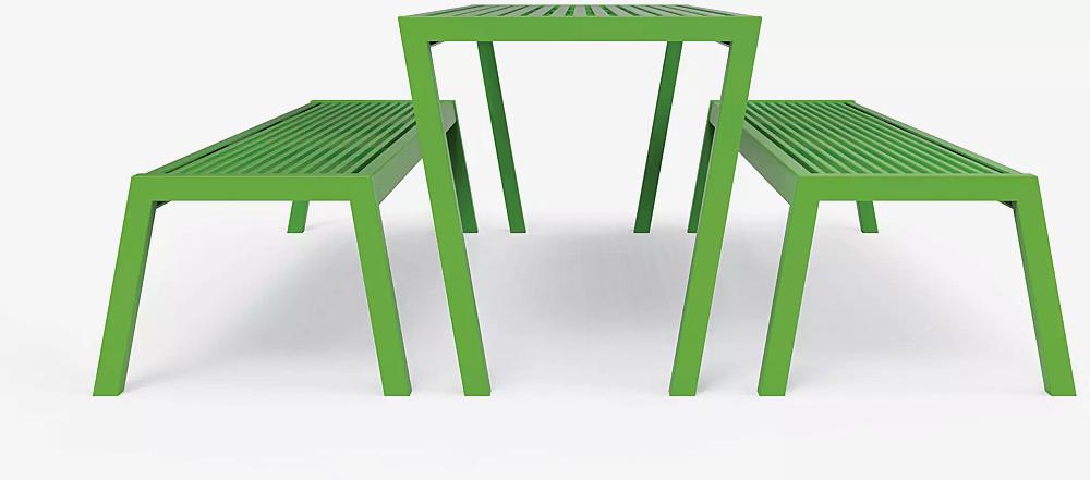 Tisch und Sitzbank CASTEO in RAL 6018 gelbgrün