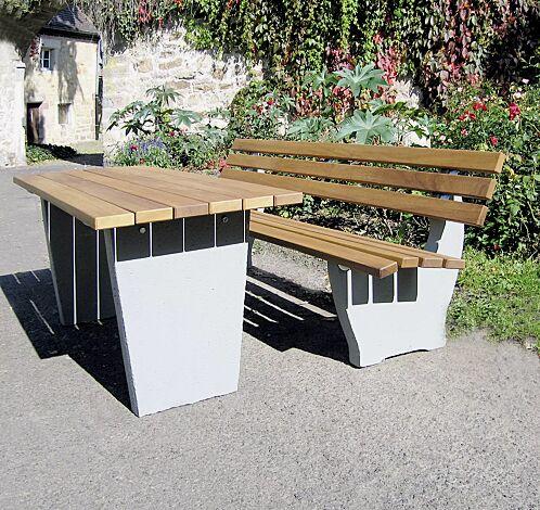 Tisch GENOVA und Sitzbank GENOVA mit Holzbelattung