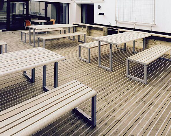 Tisch MANTUA und Sitzbank MANTUA ohne Rückenlehne, Stahlteile in eisenglimmergrau