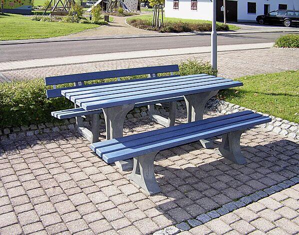 Bank-Tisch-Kombination MATERA, mit Recycling-Kunststoffbelattung in blau und Recycling-Unterkonstruktion in grau, Länge 2000 mm