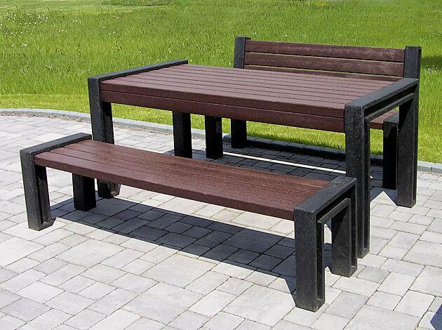 Bank-Tisch-Kombination ODERZO bestehend aus Sitzbank mit und ohne Rückenlehne und einem Tisch, aus Recycling-Kunststoff