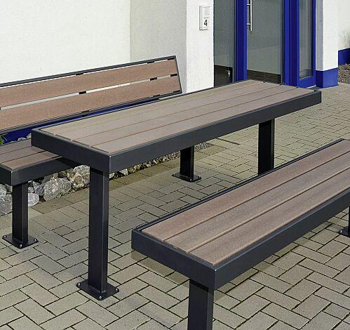 """<div id=""""container"""" class=""""container"""">Tisch und Sitzbänke PRASEM, mit WPC-Holzbelattung, Stahlteile in RAL 7016 anthrazitgrau</div>"""