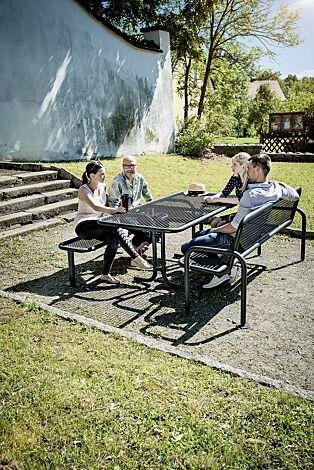 Bank-Tisch-Kombination RIMINI bestehend aus einem Tisch und Sitzbank mit und ohne Rückenlehne, in RAL 7016 anthrazitgrau