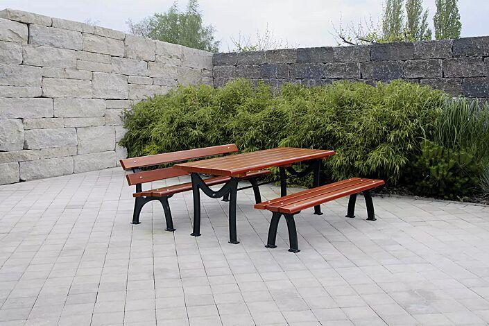 Bank-Tisch-Kombination ROMA bestehend aus einem Tisch, Sitzbank mit und ohne Rückenlehne, mit Fichteholzbelattung