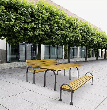 Bank-Tisch-Kombination SAN REMO, mit Fichteholzbelattung, bestehend aus einem Tisch und Sitzbank mit und ohne Rückenlehne