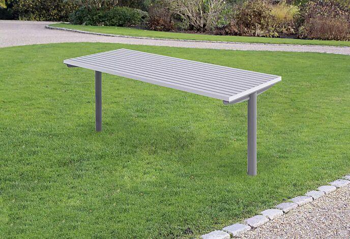 """<div id=""""container"""" class=""""container"""">Tisch STEEL in RAL 9006 weißaluminium und RAL 9007 graualuminium (zweifarbig auf Anfrage)</div>"""