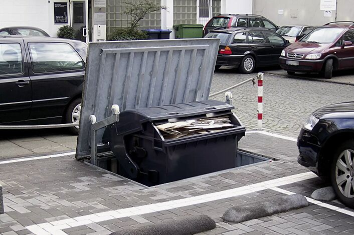 Unterflur-Müllbehältereinfachschrank BANTRY für Tonnengröße 1 x 1100 Liter, mit auftragsbezogener Anpassung (befahrbarer Deckel)