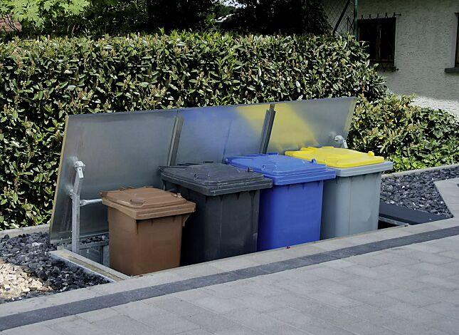 Unterflur-Müllbehältervierfachschrank für BANTRY Tonnengröße 4 x 240 Liter