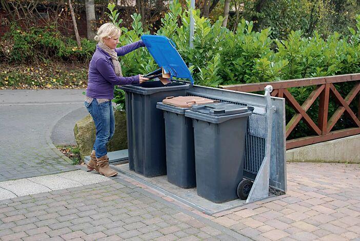 Unterflur-Müllbehälterdreifachschrank BANTRY für Tonnengröße 3 x 240 Liter, mit auftragsbezogener Anpassung (befahrbarer Deckel)
