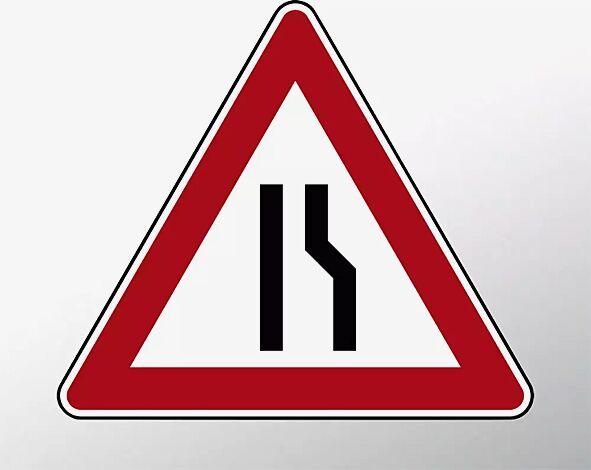 Verkehrszeichen: Einseitig verengte Fahrbahn, Verengung rechts