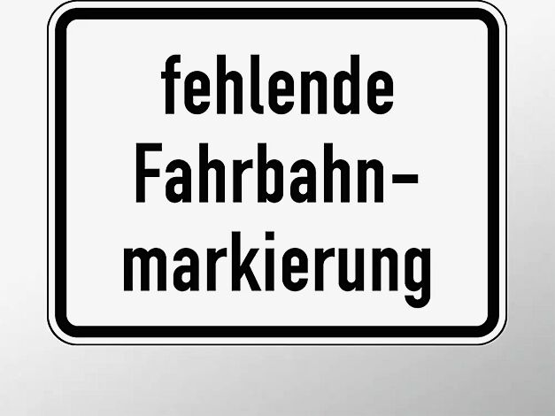 Verkehrszeichen: fehlende Fahrbahnmarkierung