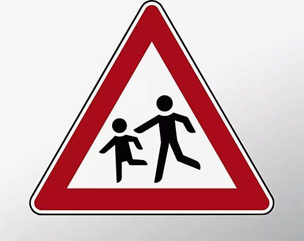 Verkehrszeichen: Kinder, Aufstellung rechts