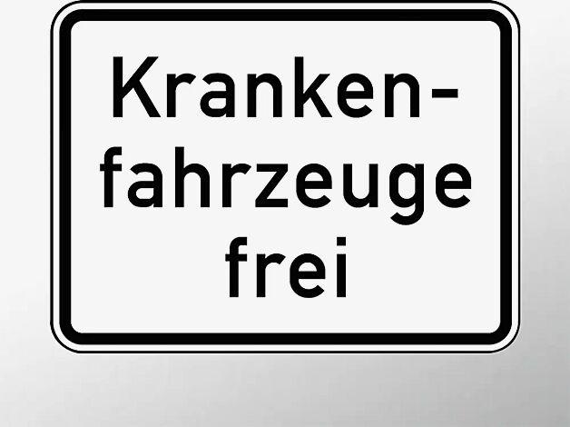 Verkehrszeichen: Krankenfahrzeuge frei
