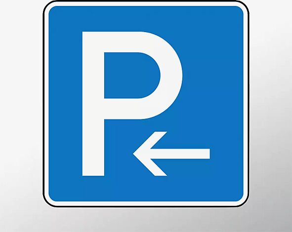 Verkehrszeichen: Parken Anfang (Aufstellung rechts) Parken Ende (Aufstellung links)