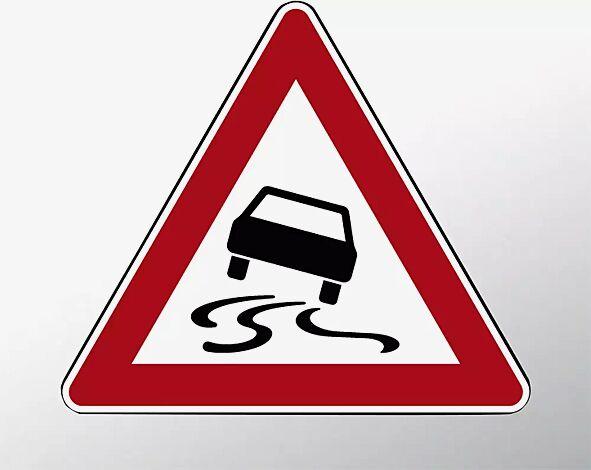 Verkehrszeichen: Schleuder- oder Rutschgefahr